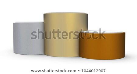 Metal podium trzy oceniającym 3d ilustracji Zdjęcia stock © Oakozhan