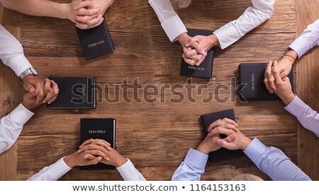 Férfi imádkozik kilátás férfi kezek fából készült Stock fotó © stevanovicigor