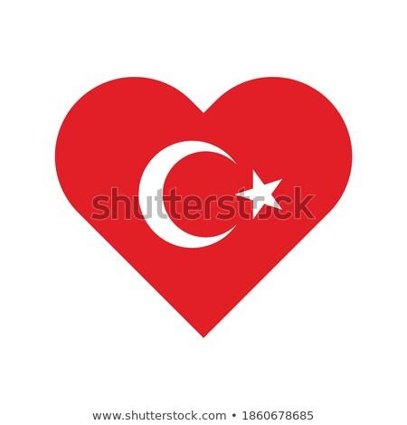 Turkey isolated heart flag on white background Stock photo © rogistok