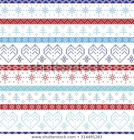 Ducks in scarf winter seamless vector pattern. Stock photo © yopixart
