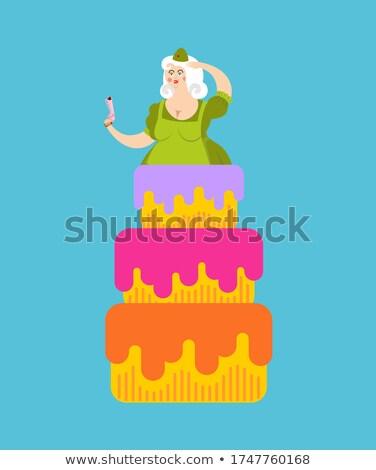Boldog születésnapot torta sztriptíz lány gratuláció étel Stock fotó © popaukropa