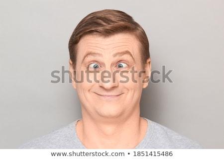vicces · barna · hajú · készít · arcok · nő · mosoly - stock fotó © deandrobot