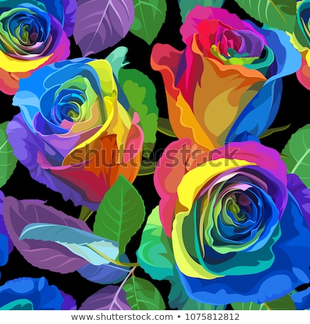 Stock photo: Multicolored roses seamless pattern. Vector flower background. F