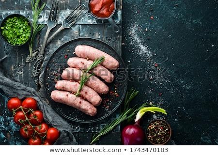 ruw · worst · voedsel · maaltijd · knoflook · rundvlees - stockfoto © m-studio
