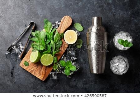 Hozzávalók készít fém friss menta mojito Stock fotó © Melnyk