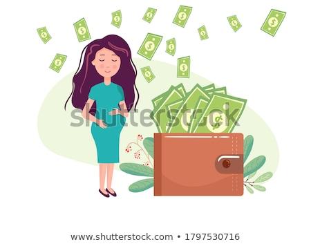 terhes · nő · vektor · rajz · fiatal · aranyos · elrendezés - stock fotó © toyotoyo