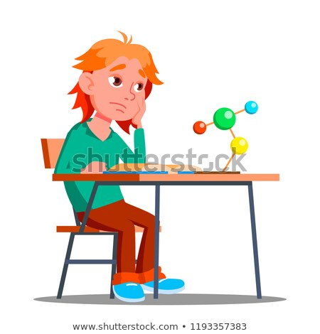 little boy in the class of chemistry physics vector boring isolated illustration stock photo © pikepicture