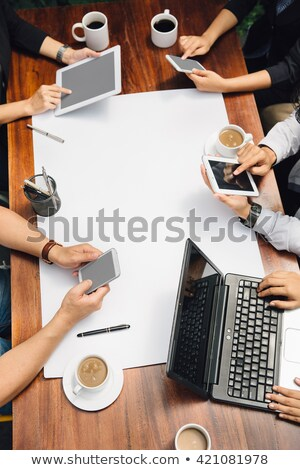 Business Meeting, The Team Meeting And One Employee Shooting At The Target Vector. Isolated Illustra Stock photo © pikepicture