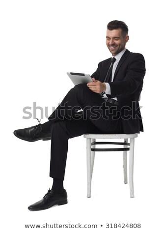 портрет улыбаясь бизнесмен футуристический таблетка Сток-фото © feedough