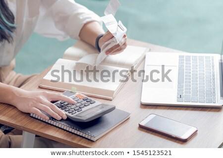 Contabili donna soldi tavola computer mutui Foto d'archivio © pikepicture