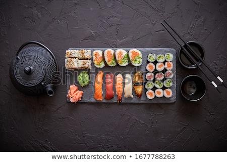 Válogatás különböző szusi tekercsek fekete kő Stock fotó © dash