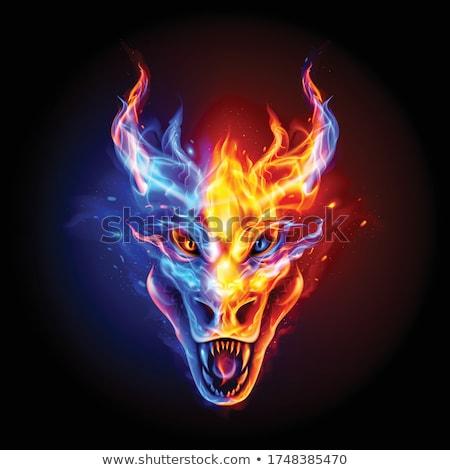 Fogo vermelho azul preto chamas quente Foto stock © jeff_hobrath