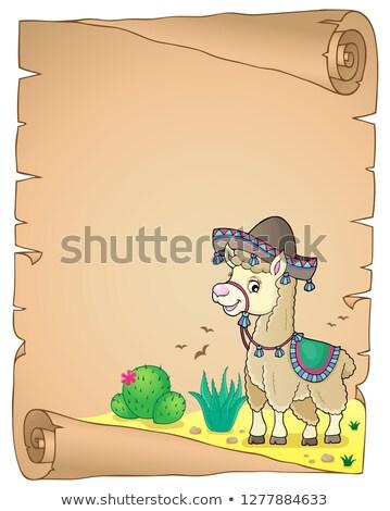 Lama geniş kenarlı şapka parşömen kâğıt mutlu sanat Stok fotoğraf © clairev