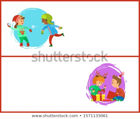 Snowball Fights and Unpacking Gifts Postcards Stock photo © robuart