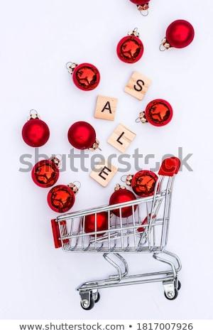 Noel · sepet · örnek · şarap · hediyeler · top - stok fotoğraf © robuart