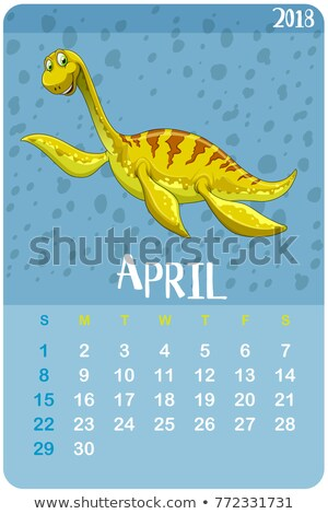 Calender template for April with kronosaurus Stock photo © colematt
