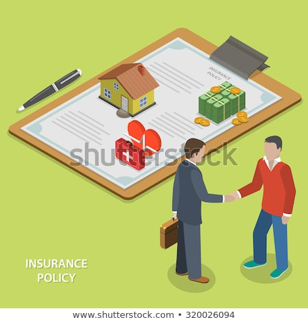 Isometric flat vector concept of insurance deal, policy, healthcare. Stock photo © TarikVision
