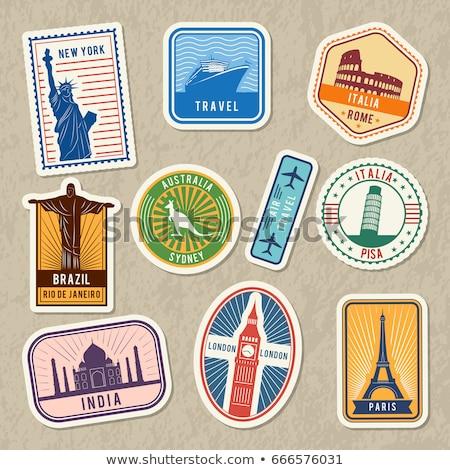 Eyfel Kulesi seyahat etiket ünlü dünya Stok fotoğraf © robuart