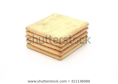 stack of square crackers isolated on white background stock photo © xamtiw