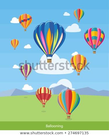 Banner design with hotair balloon flying Stock photo © colematt