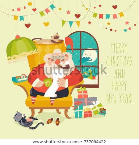Merry Christmas Santa Claus Sitting Cosy Armchair Stock photo © robuart
