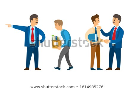 Boss Firing Worker, Sacked Person with Carton Box Foto stock © robuart