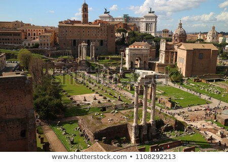 Ancient Roman Forum landmarks and Colosseum in eternal city of R stock photo © xbrchx