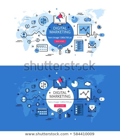 Digital marketing outline concept. Flat vector illustration. Stock photo © makyzz