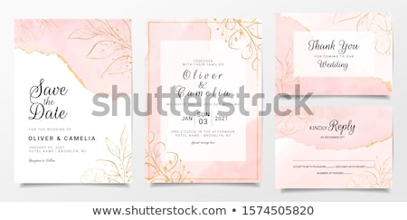 delicate pink roses anniversary cardvector watercolor floral b stock photo © frimufilms