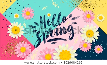 hello spring text template stock photo © colematt