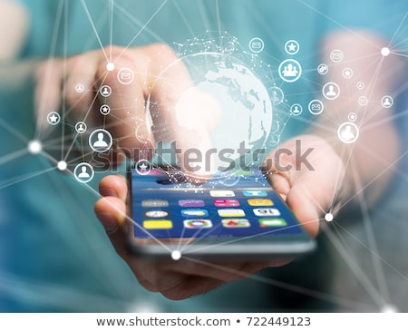 Man hologram communicatie menselijke middelen Stockfoto © dolgachov