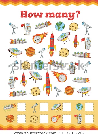 Stock photo: counting cartoon robots educational game