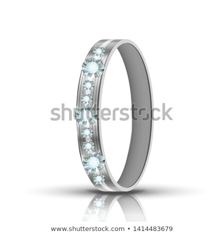 Encrusted Silver Ring With Diamonds Around Vector Stock photo © pikepicture