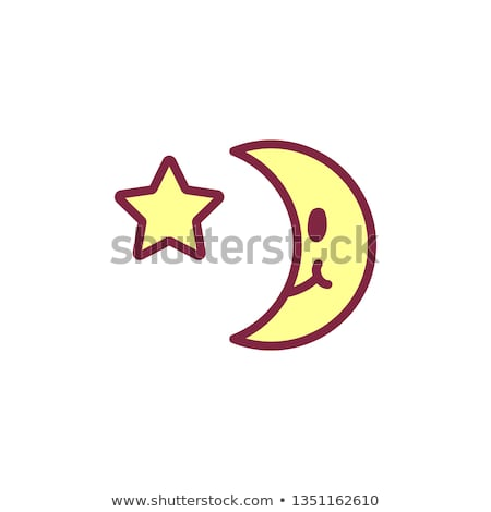 vector cute icon haappy yellow crescent Stock photo © VetraKori