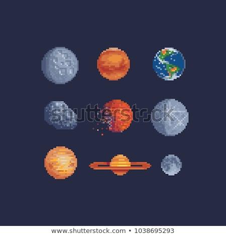 Moon and Stars Pixel 8 Bit Video Game Art Icon Stock photo © Krisdog