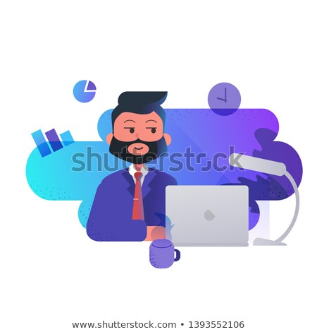 Man with Laptop Presenting Chart, Report Vector Stock photo © robuart