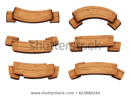 Rajz fa bannerek fából készült deszkák szett Stock fotó © Andrei_