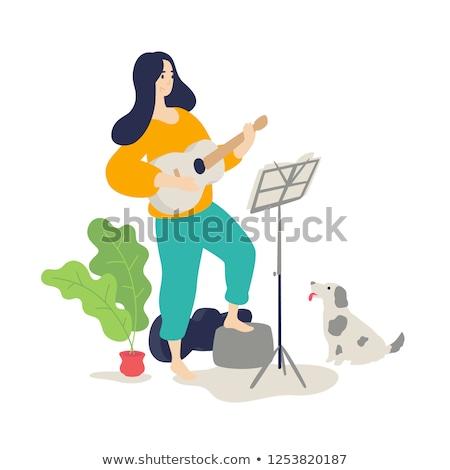 Gitáros nő játszik gitár otthon hobbi Stock fotó © robuart