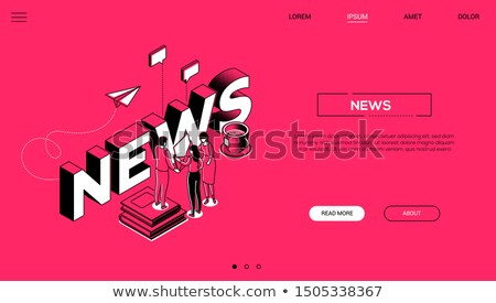 Stock photo: News creation colorful vector landing page template