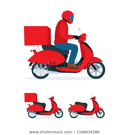Stock photo: Delivery guy on scooter, flat style illustration