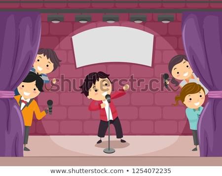 Dzieci komedia pokaż ilustracja śmiechem oglądania Zdjęcia stock © lenm