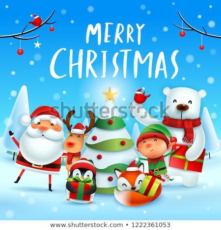 Elf ijsbeer christmas poster vector partij Stockfoto © balasoiu