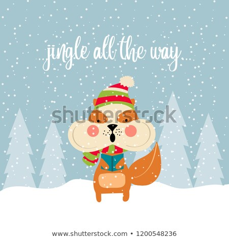 Cute Christmas card with squirrel singing carols Stock photo © balasoiu