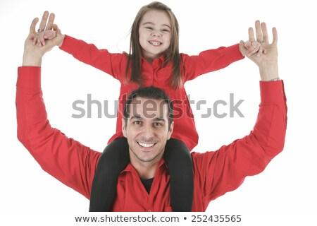 Familia feliz miembro padre hija hombro familia Foto stock © Lopolo