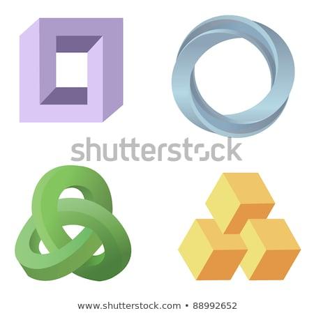 Optische Täuschung farbenreich Blöcke unterschiedlich Formen Wirkung Stock foto © ukasz_hampel