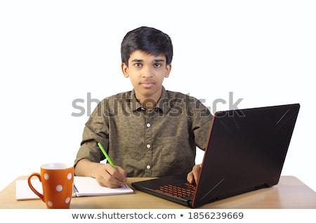 Fiú laptopot használ integet kéz webkamera számítógép Stock fotó © vladacanon