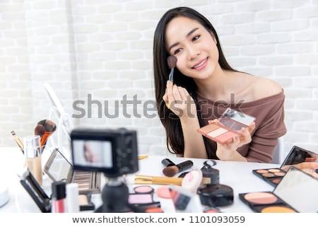 Gyönyörű ázsiai nő profi szépség blogger Stock fotó © snowing