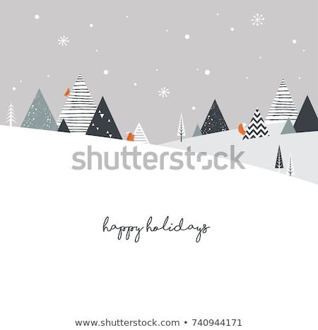 Vrolijk christmas vos pijnboom wenskaart Stockfoto © robuart