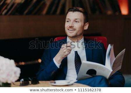 水平な ショット 幸せ ビジネスマン 人気のある 雑誌 ストックフォト © vkstudio