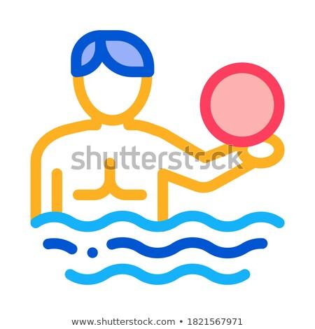 Homem voleibol água bola ícone vetor Foto stock © pikepicture